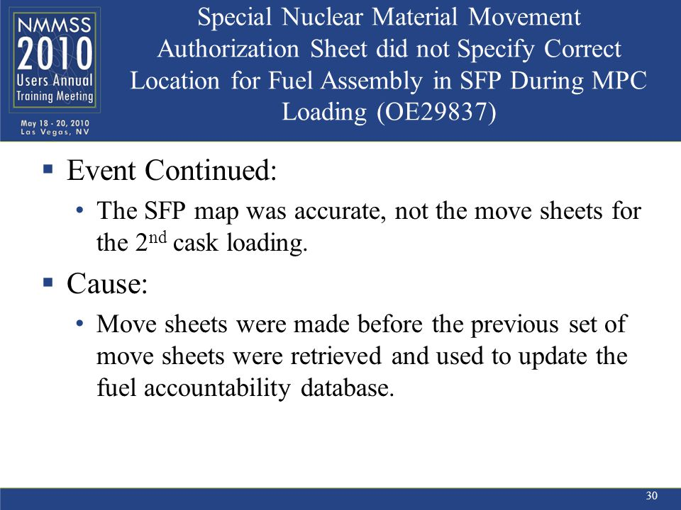 Special Nuclear Material Movement Authorization Sheet did not Specify Correct Location for Fuel Assembly in SFP During MPC Loading (OE29837)  Event Continued: The SFP map was accurate, not the move sheets for the 2 nd cask loading.