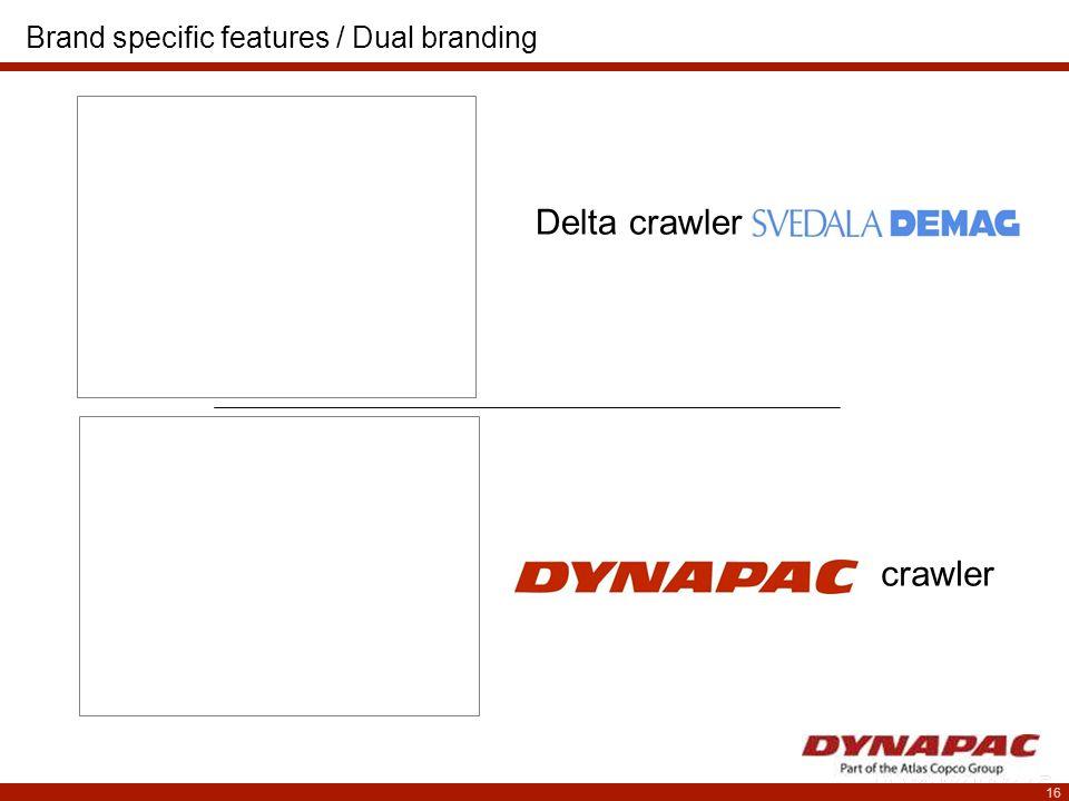 16 Delta crawler crawler Brand specific features / Dual branding
