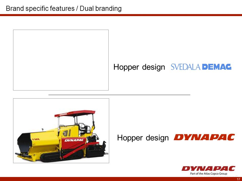 17 Hopper design Brand specific features / Dual branding