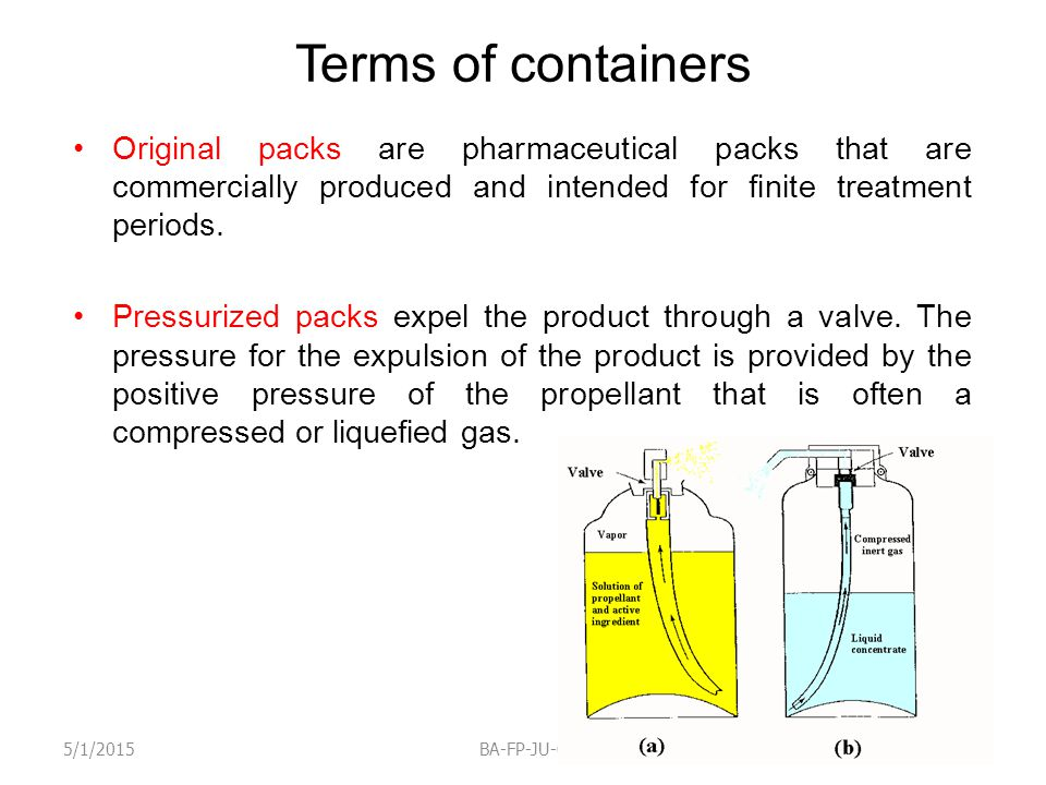 Terms of containers Original packs are pharmaceutical packs that are commercially produced and intended for finite treatment periods. Pressurized pack