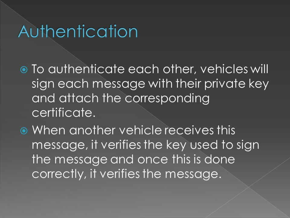  To authenticate each other, vehicles will sign each message with their private key and attach the corresponding certificate.