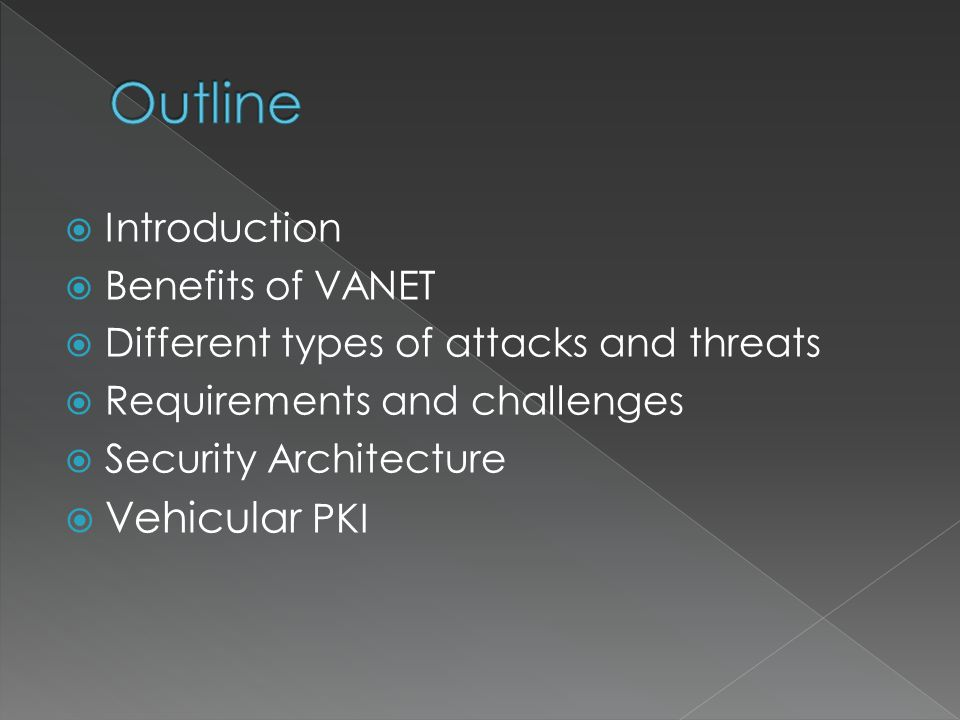  Introduction  Benefits of VANET  Different types of attacks and threats  Requirements and challenges  Security Architecture  Vehicular PKI