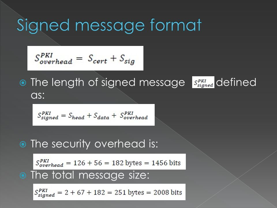  The length of signed message defined as:  The security overhead is:  The total message size: