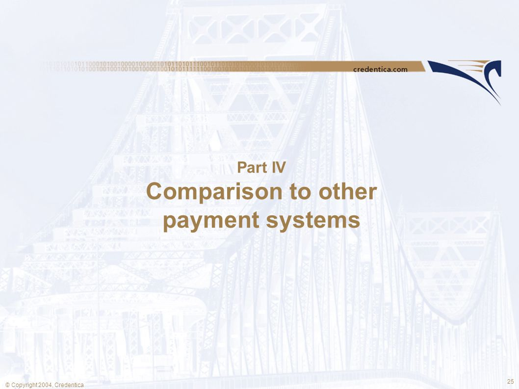 25 © Copyright 2004, Credentica Part IV Comparison to other payment systems
