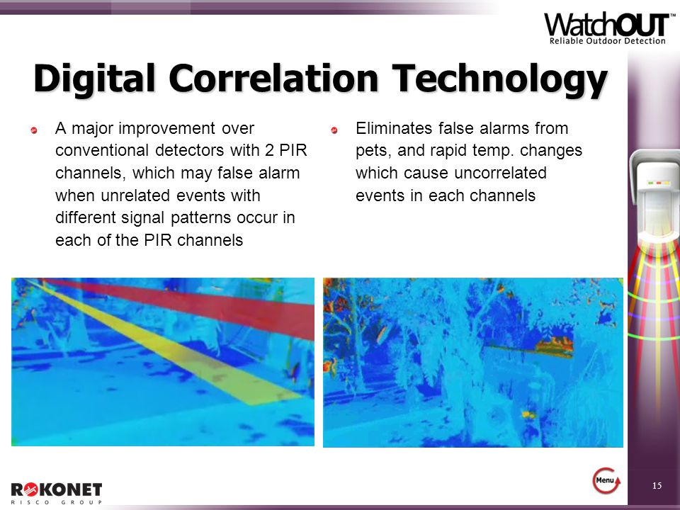 15 Digital Correlation Technology A major improvement over conventional detectors with 2 PIR channels, which may false alarm when unrelated events wit