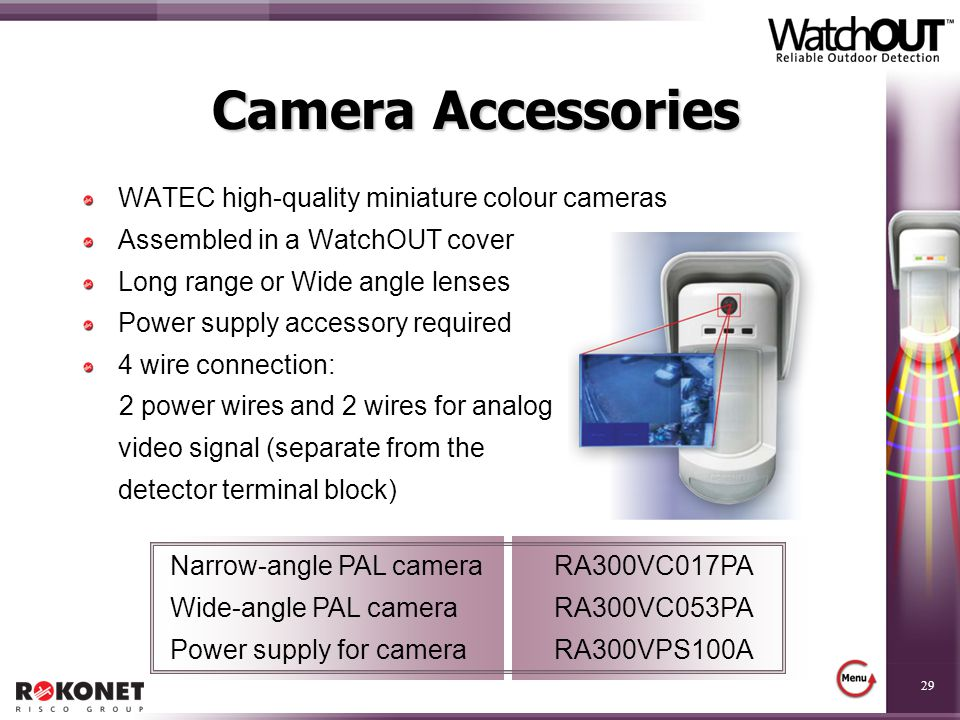 29 Camera Accessories WATEC high-quality miniature colour cameras Assembled in a WatchOUT cover Long range or Wide angle lenses Power supply accessory