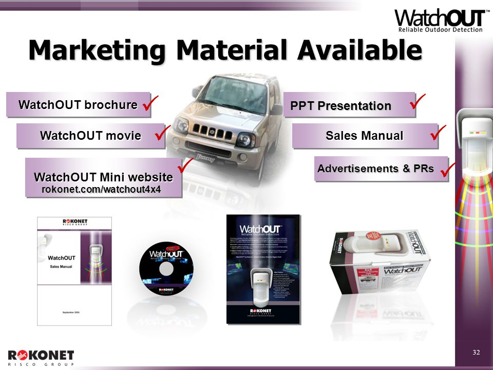 32 Marketing Material Available WatchOUT brochure WatchOUT movie WatchOUT Mini website Sales Manual       PPT Presentation Advertisements & PRs