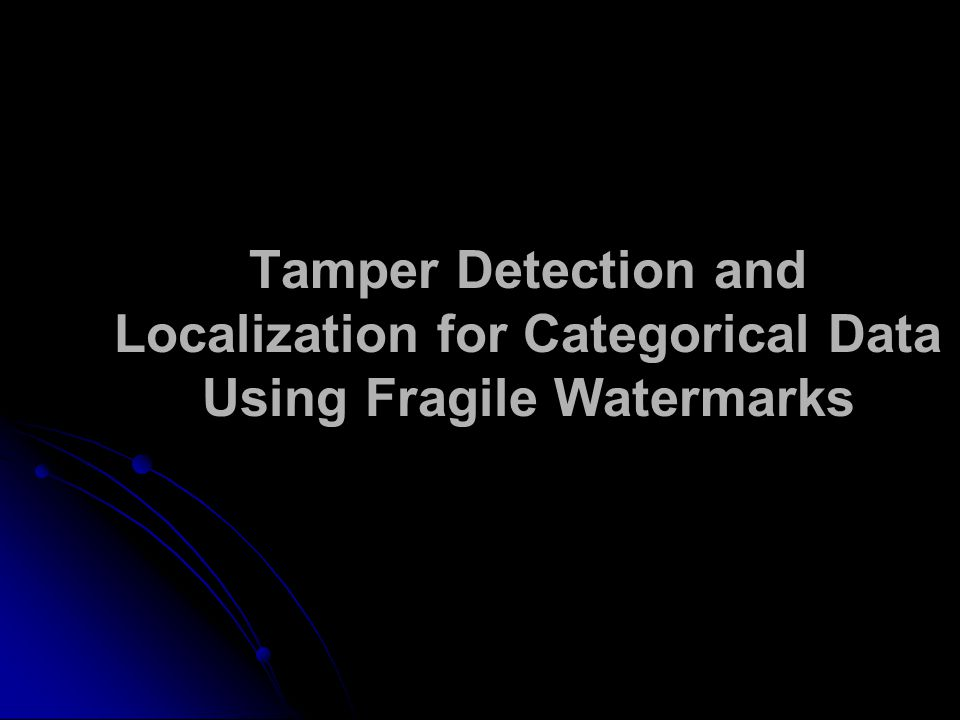 Tamper Detection and Localization for Categorical Data Using Fragile Watermarks
