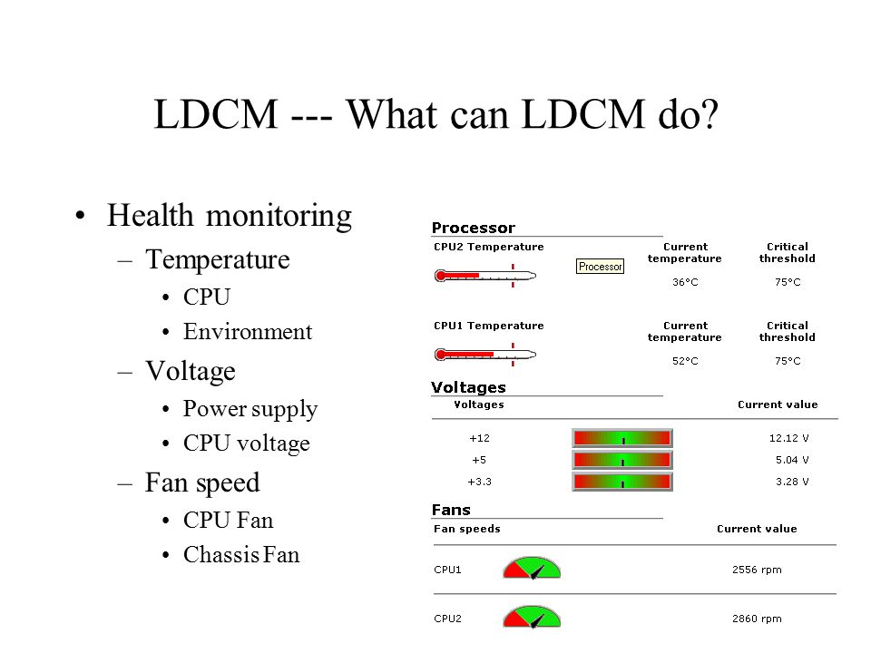 LDCM --- What can LDCM do? Health monitoring –Temperature CPU Environment –Voltage Power supply CPU voltage –Fan speed CPU Fan Chassis Fan