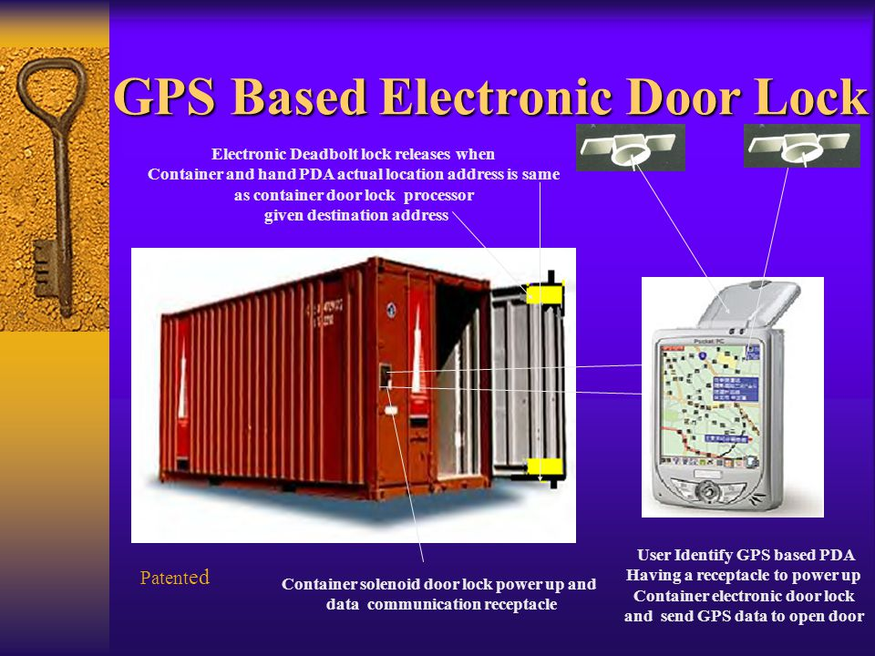 GPS Based Electronic Door Lock Patent ed Container solenoid door lock power up and data communication receptacle User Identify GPS based PDA Having a receptacle to power up Container electronic door lock and send GPS data to open door Electronic Deadbolt lock releases when Container and hand PDA actual location address is same as container door lock processor given destination address