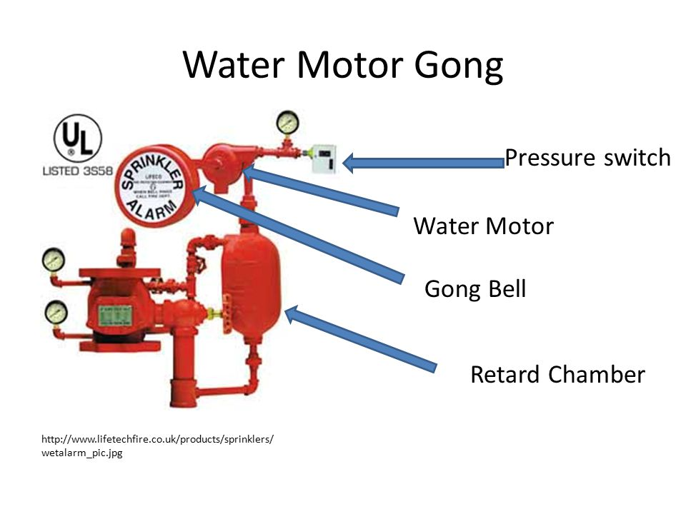 Water Motor Gong http://www.lifetechfire.co.uk/products/sprinklers/ wetalarm_pic.jpg Pressure switch Water Motor Gong Bell Retard Chamber