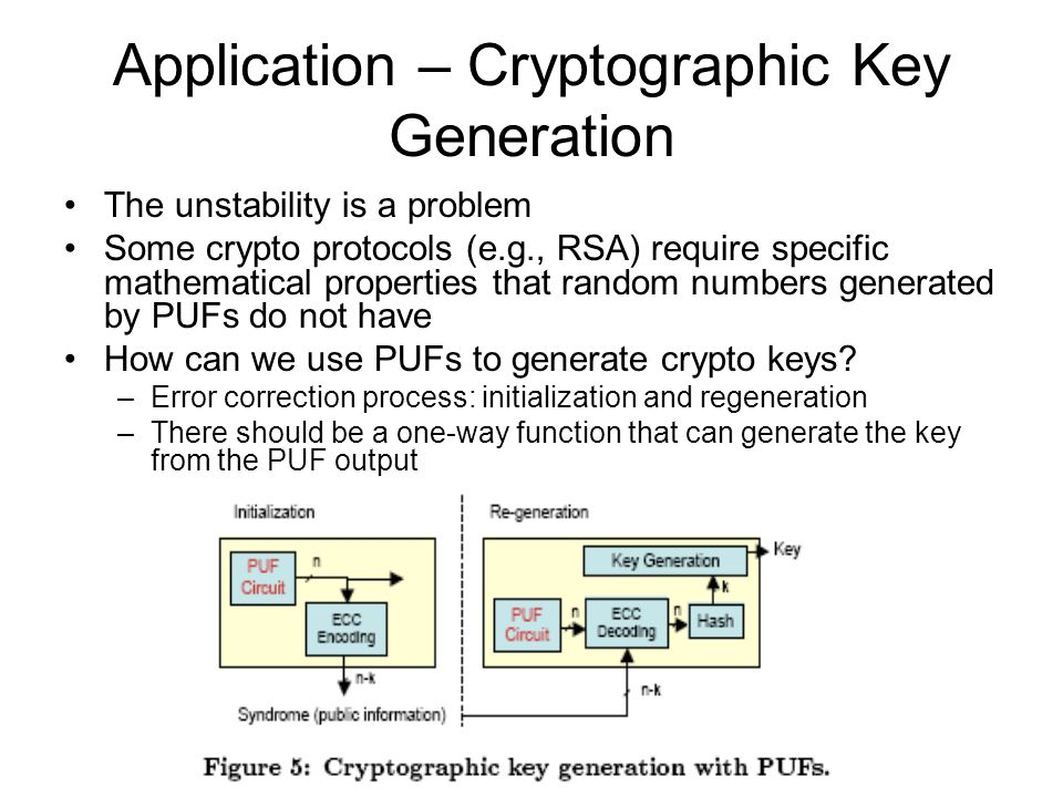 Application – Cryptographic Key Generation The unstability is a problem Some crypto protocols (e.g., RSA) require specific mathematical properties tha