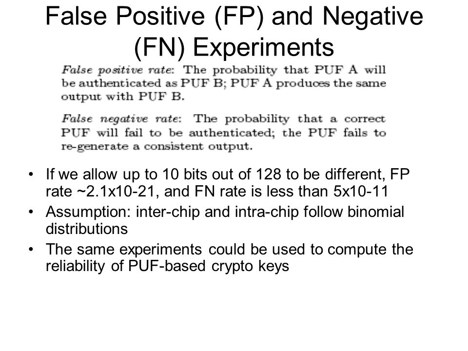 False Positive (FP) and Negative (FN) Experiments If we allow up to 10 bits out of 128 to be different, FP rate ~2.1x10-21, and FN rate is less than 5