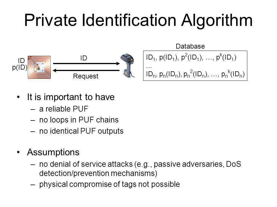 Private Identification Algorithm Assumptions –no denial of service attacks (e.g., passive adversaries, DoS detection/prevention mechanisms) –physical