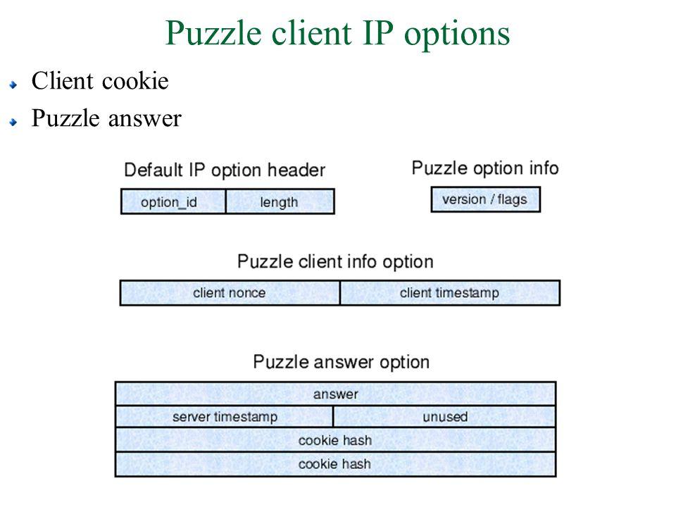 Puzzle client IP options Client cookie Puzzle answer