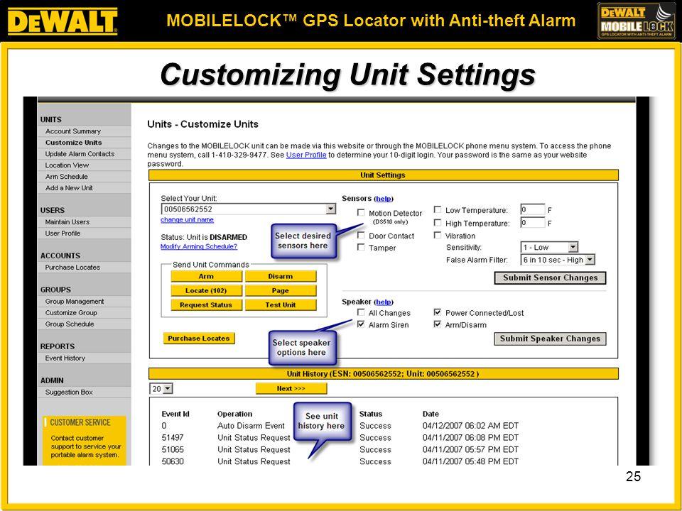 MOBILELOCK™ GPS Locator with Anti-theft Alarm 25 Customizing Unit Settings