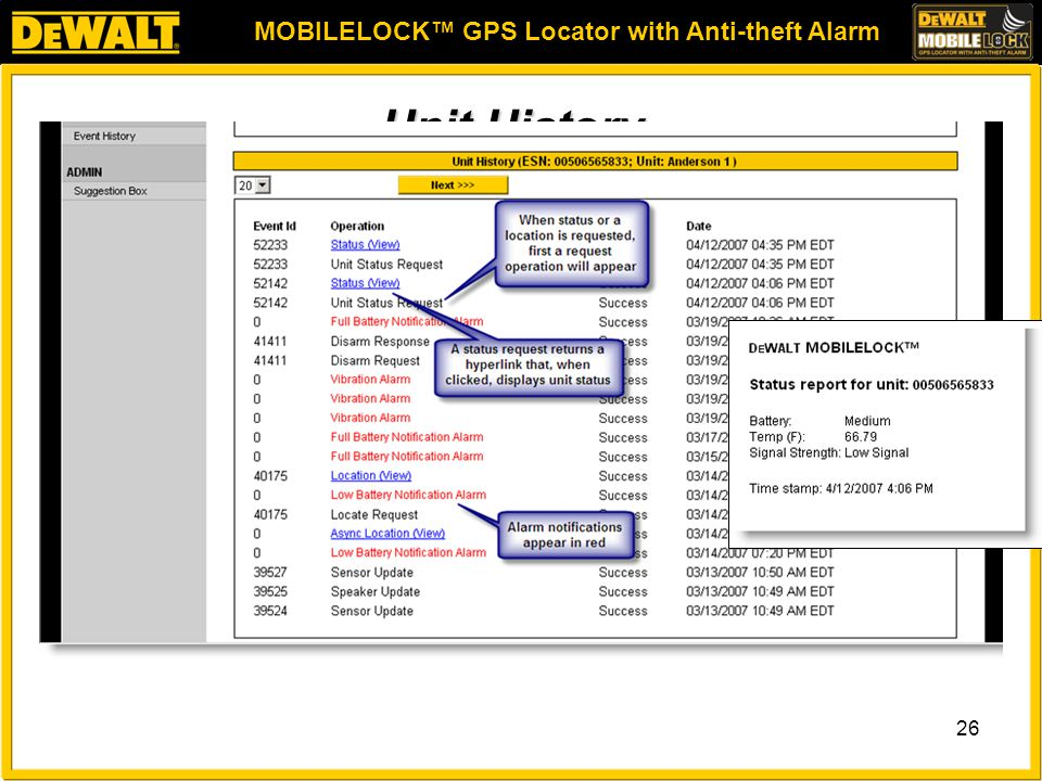MOBILELOCK™ GPS Locator with Anti-theft Alarm 26 Unit History