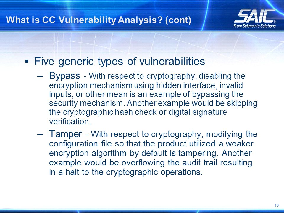 10 What is CC Vulnerability Analysis.