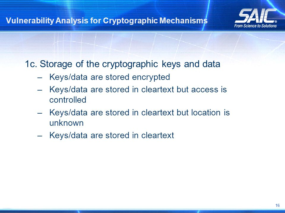 16 Vulnerability Analysis for Cryptographic Mechanisms 1c.