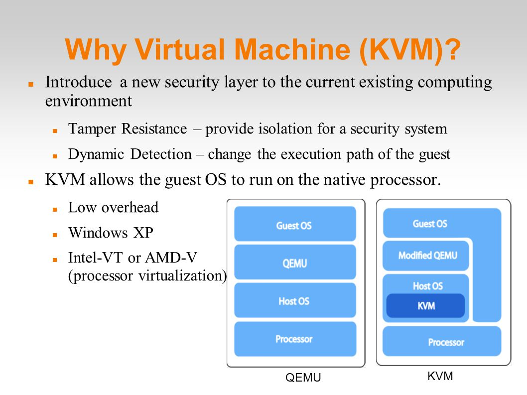 Why Virtual Machine (KVM).
