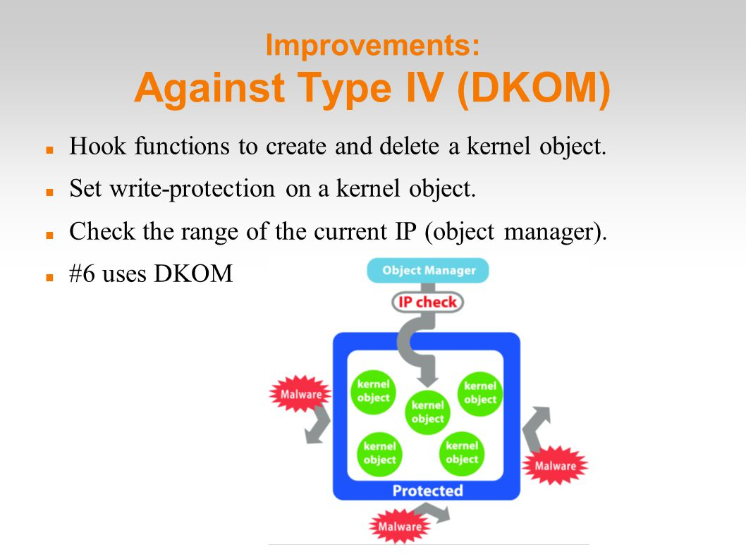 Improvements: Against Type IV (DKOM)‏ Hook functions to create and delete a kernel object.