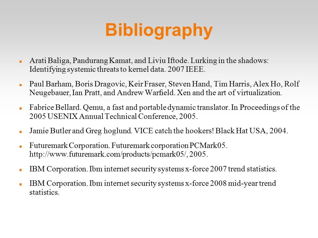 Bibliography Arati Baliga, Pandurang Kamat, and Liviu Iftode.