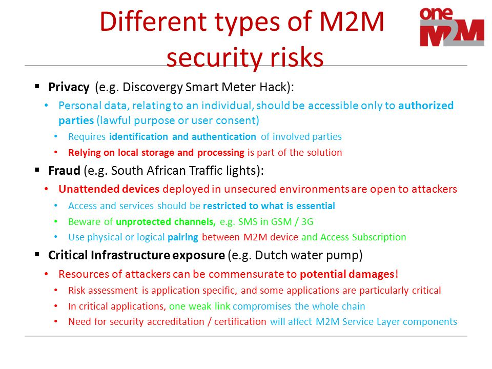 Different types of M2M security risks  Privacy (e.g.