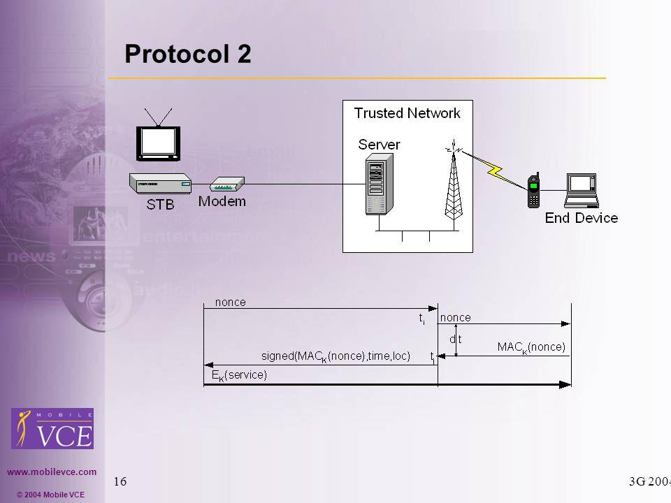 www.mobilevce.com © 2004 Mobile VCE 3G 200416 Protocol 2