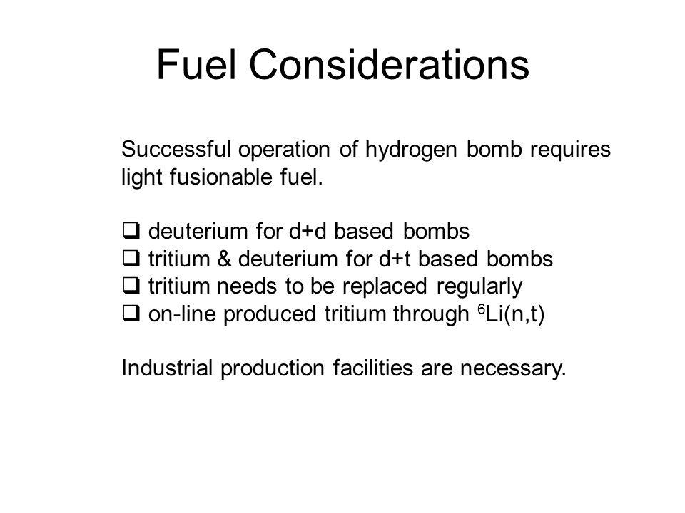 Fuel Considerations Successful operation of hydrogen bomb requires light fusionable fuel.  deuterium for d+d based bombs  tritium & deuterium for d+