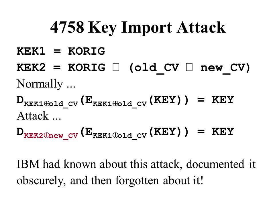 4758 Key Import Attack KEK1 = KORIG KEK2 = KORIG  (old_CV  new_CV) Normally...