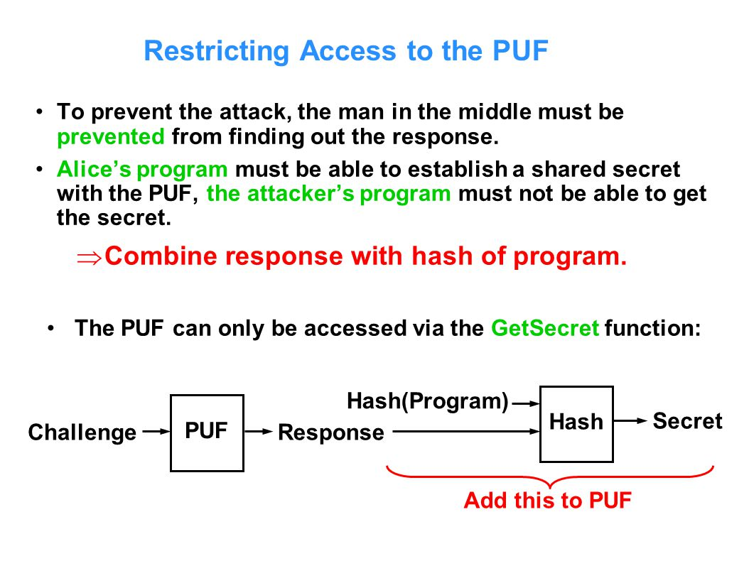 Restricting Access to the PUF To prevent the attack, the man in the middle must be prevented from finding out the response.
