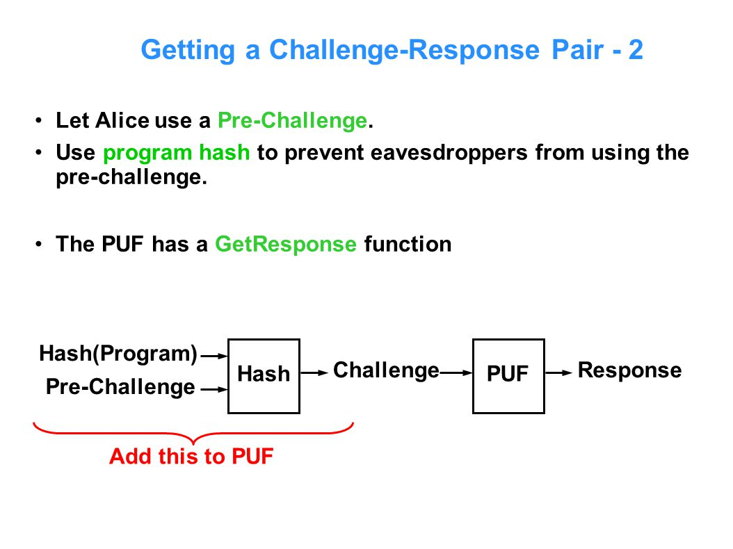 Getting a Challenge-Response Pair - 2 Let Alice use a Pre-Challenge.