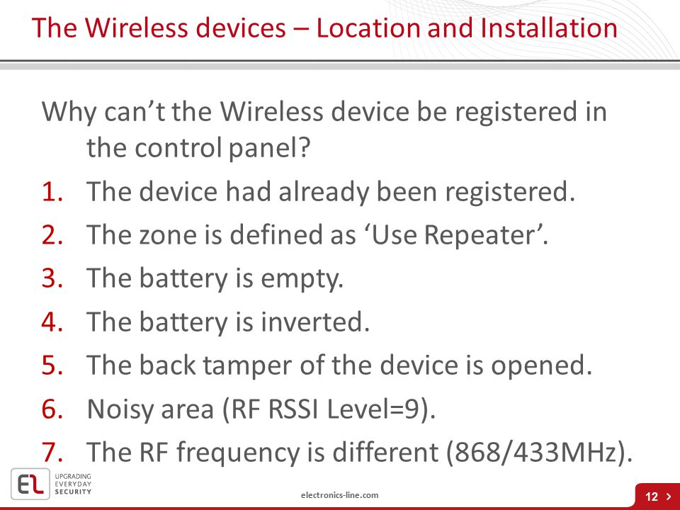 electronics-line.com The Wireless devices – Location and Installation Why can't the Wireless device be registered in the control panel.