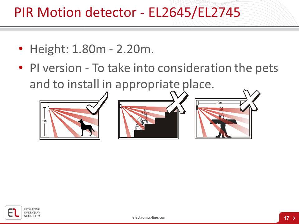 electronics-line.com PIR Motion detector - EL2645/EL2745 Height: 1.80m - 2.20m.