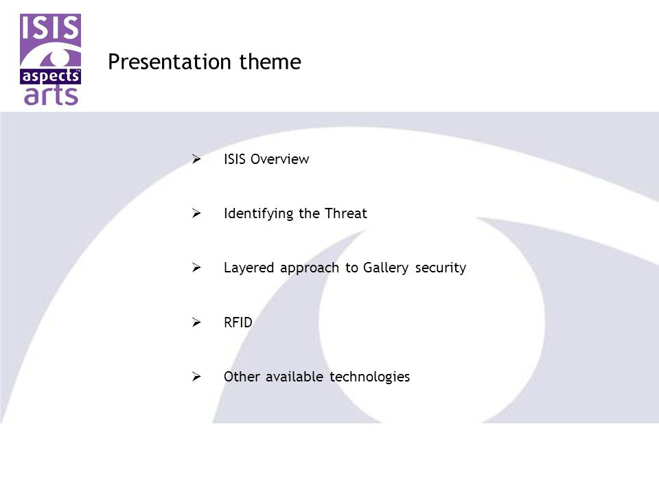 Presentation theme  ISIS Overview  Identifying the Threat  Layered approach to Gallery security  RFID  Other available technologies