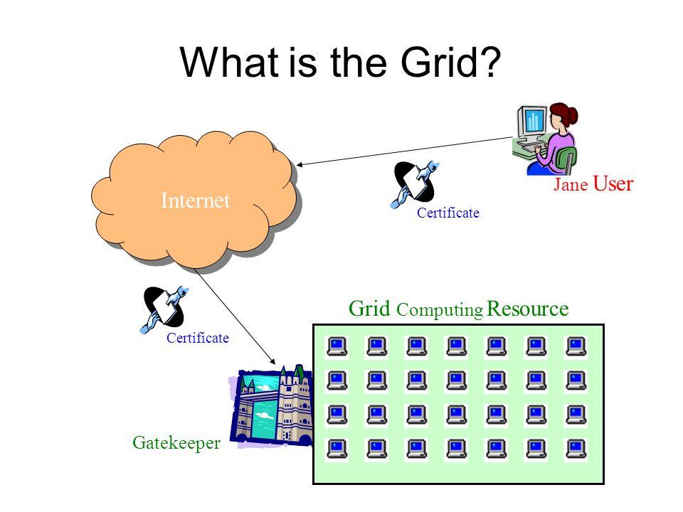 What is the Grid? Internet Grid Computing Resource Certificate Gatekeeper Jane User
