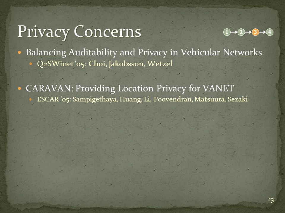 13 Privacy Concerns Balancing Auditability and Privacy in Vehicular Networks Q2SWinet 05: Choi, Jakobsson, Wetzel CARAVAN: Providing Location Privacy for VANET ESCAR 05: Sampigethaya, Huang, Li, Poovendran, Matsuura, Sezaki 1234