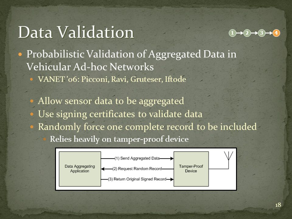 18 Data Validation Probabilistic Validation of Aggregated Data in Vehicular Ad-hoc Networks VANET 06: Picconi, Ravi, Gruteser, Iftode Allow sensor data to be aggregated Use signing certificates to validate data Randomly force one complete record to be included Relies heavily on tamper-proof device 1234