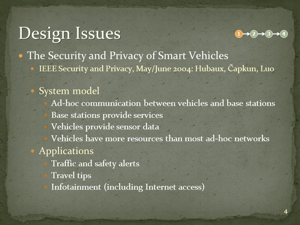 15 Privacy Concerns Balancing Auditability and Privacy in Vehicular Networks Q2SWinet 05: Choi, Jakobsson, Wetzel Two-Level Infrastructure Back-end (ombudsman) Creates long-term handle from node identities Nodes initialized with set of handles Off-line approval can grant identity from pseudonym Front-end (road-side base stations) Uses short-term pseudonyms created from long-term handles Pseudonym and shared key created from handle and timestamp 1234