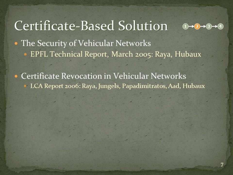 8 Certificate-Based Solution The Security of Vehicular Networks EPFL Technical Report, March 2005: Raya, Hubaux Attacks Bogus information Message tampering Cheating (data manipulation, impersonation) Identity disclosure for vehicle tracking Denial of service 1234