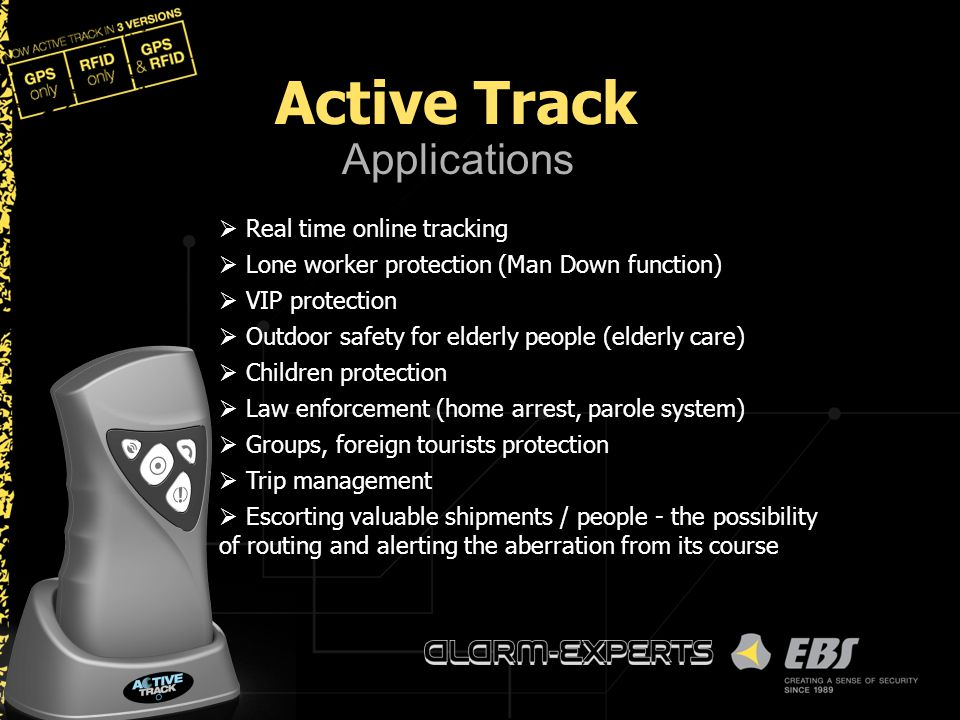 Applications  Real time online tracking  Lone worker protection (Man Down function)  VIP protection  Outdoor safety for elderly people (elderly ca