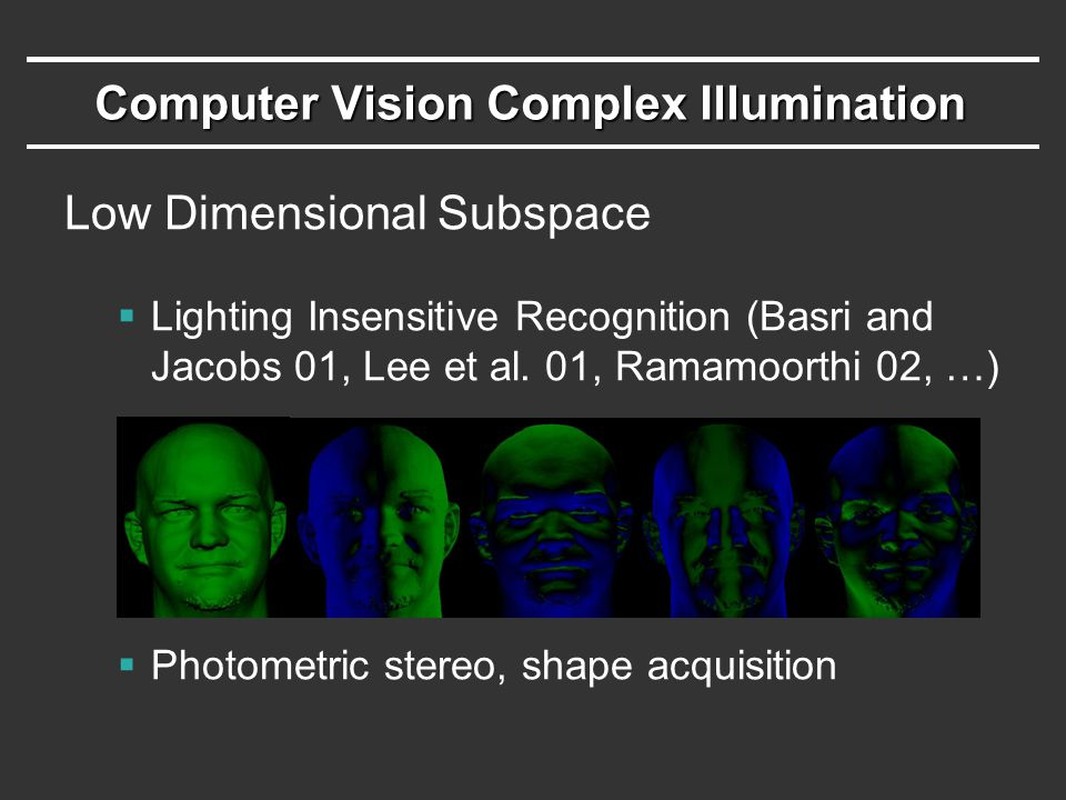 Computer Vision Complex Illumination Low Dimensional Subspace  Lighting Insensitive Recognition (Basri and Jacobs 01, Lee et al.