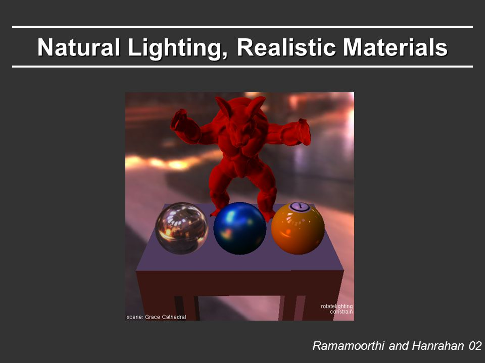 Natural Lighting, Realistic Materials Ramamoorthi and Hanrahan 02