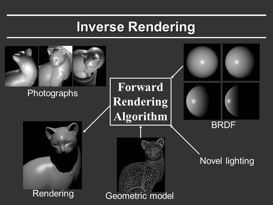 Inverse Rendering Geometric model Forward Rendering Algorithm BRDF Novel lighting Rendering Photographs