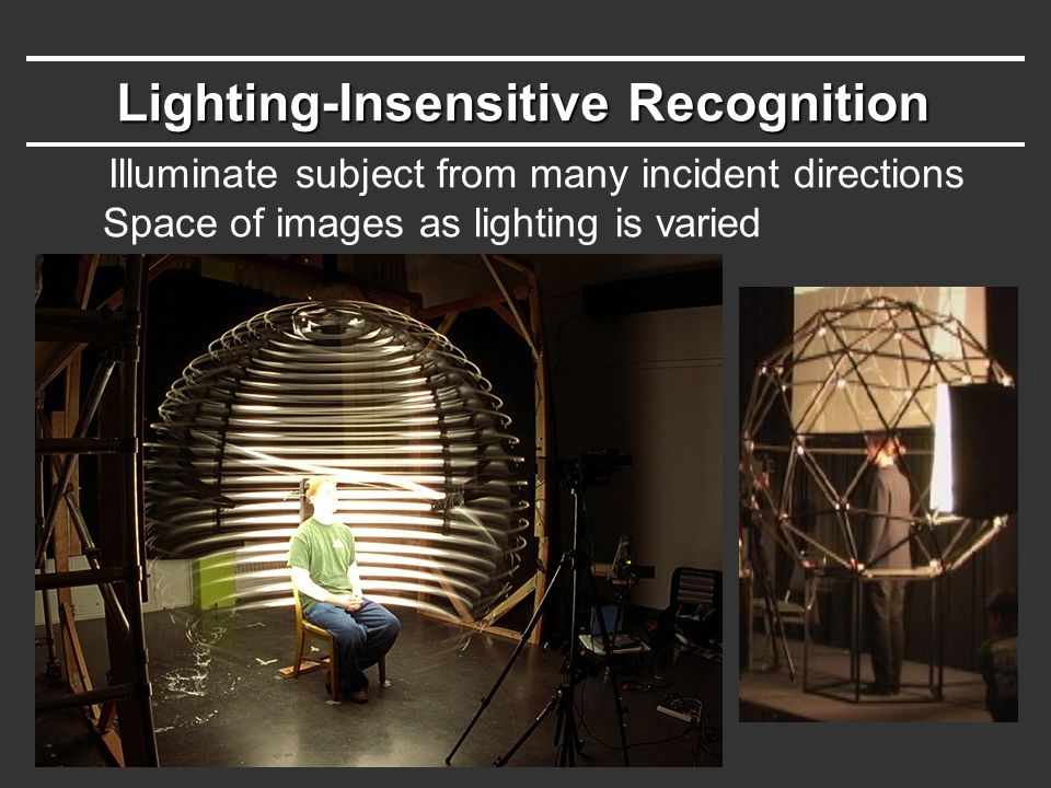 Lighting-Insensitive Recognition Illuminate subject from many incident directions Space of images as lighting is varied