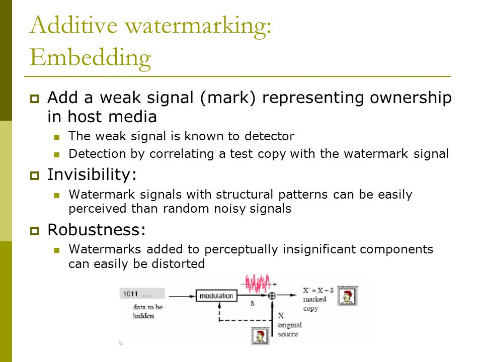 Additive watermarking: Embedding  Add a weak signal (mark) representing ownership in host media The weak signal is known to detector Detection by correlating a test copy with the watermark signal  Invisibility: Watermark signals with structural patterns can be easily perceived than random noisy signals  Robustness: Watermarks added to perceptually insignificant components can easily be distorted
