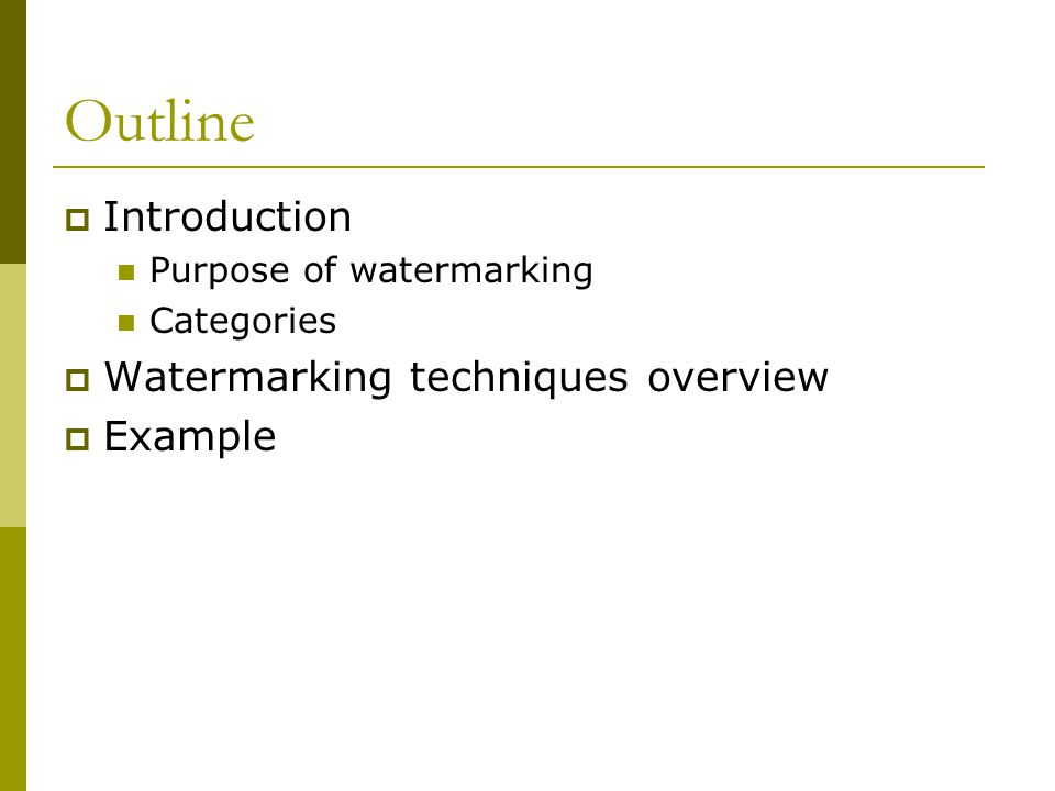 Watermarking principles (I)  Digital watermarking technology allows users to embed data into digital contents such as text, still images, video and audio data.