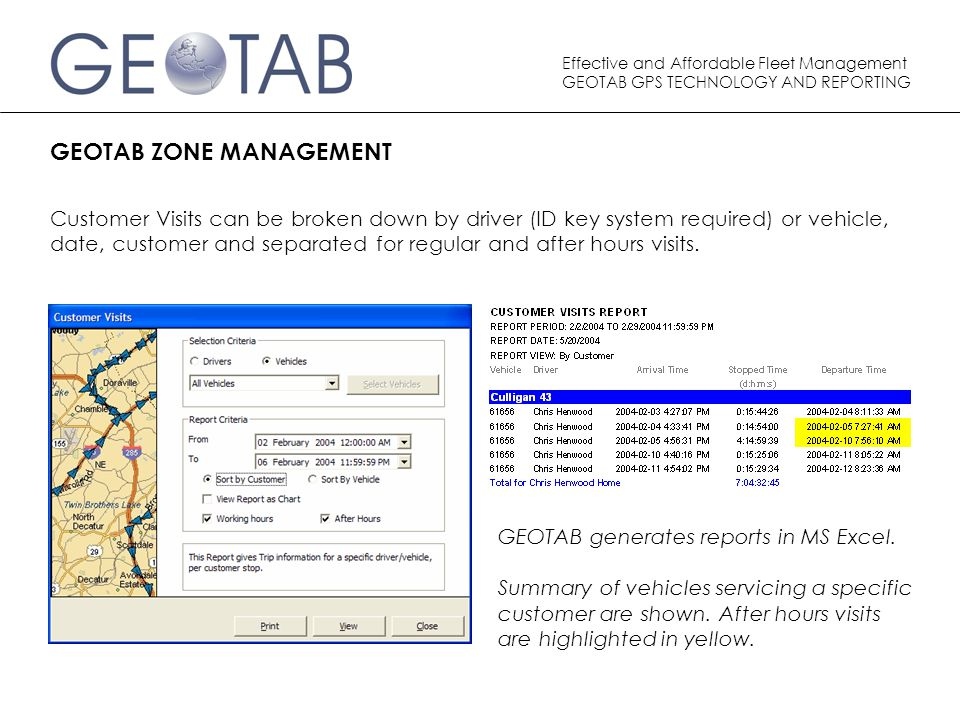 Effective and Affordable Fleet Management GEOTAB GPS TECHNOLOGY AND REPORTING GEOTAB ZONE MANAGEMENT Customer Visits can be broken down by driver (ID key system required) or vehicle, date, customer and separated for regular and after hours visits.