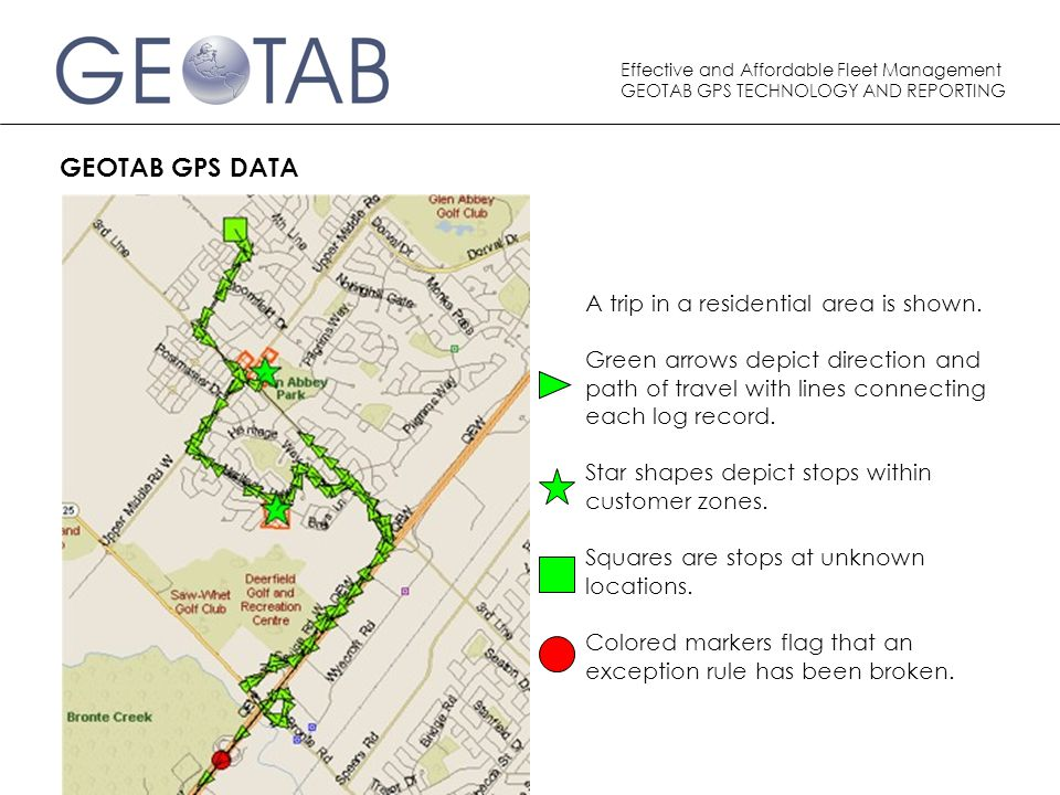 Effective and Affordable Fleet Management GEOTAB GPS TECHNOLOGY AND REPORTING GEOTAB GPS DATA A trip in a residential area is shown.