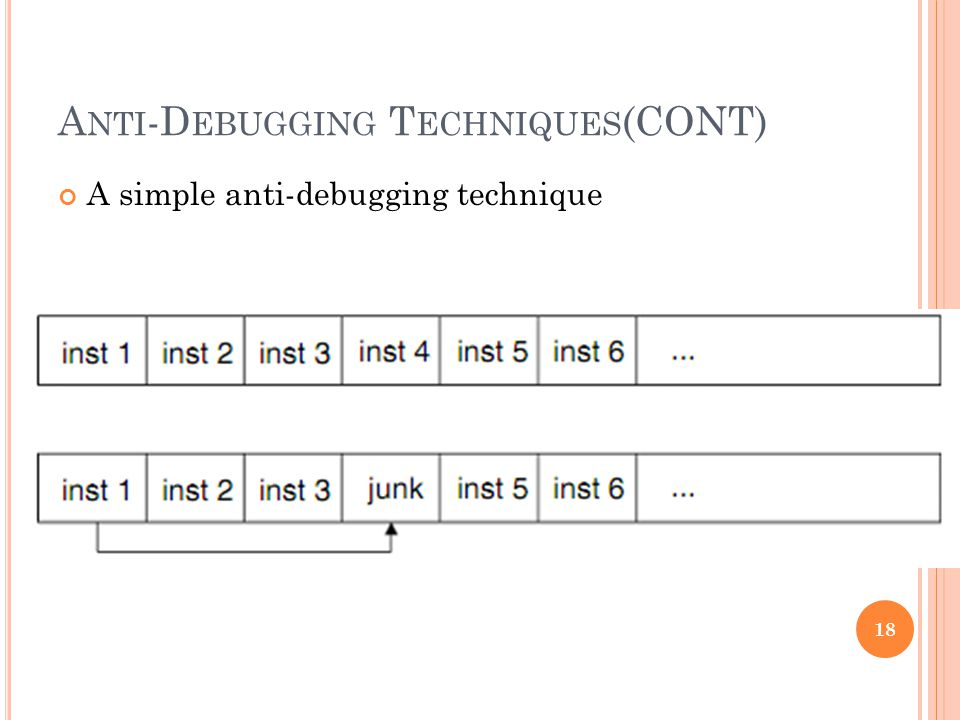 A NTI -D EBUGGING T ECHNIQUES (CONT) A simple anti-debugging technique 18
